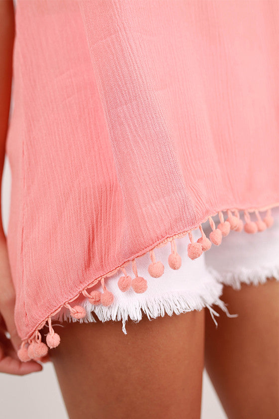 Shake It Pom Pom Tank in Coral