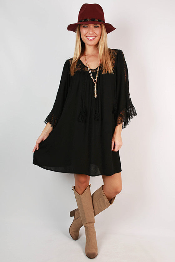 Darling Daydreamer Ruffle Dress in Black