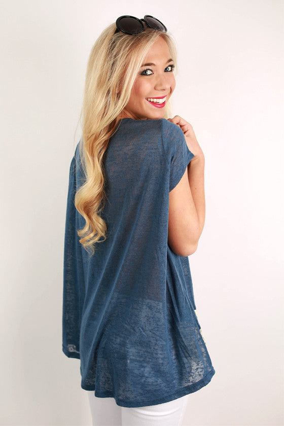 Keep My Secrets Lace Trim Tee in Navy