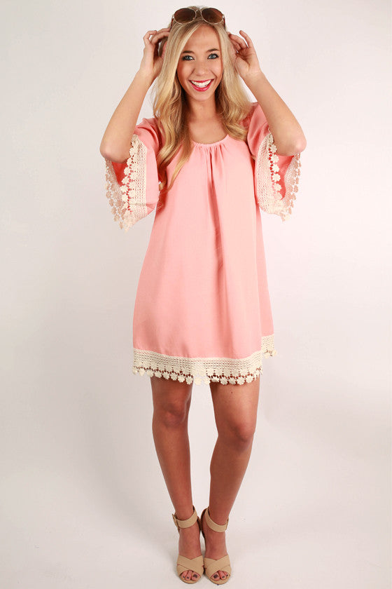 Flirting With Lace Tunic Dress in Peach