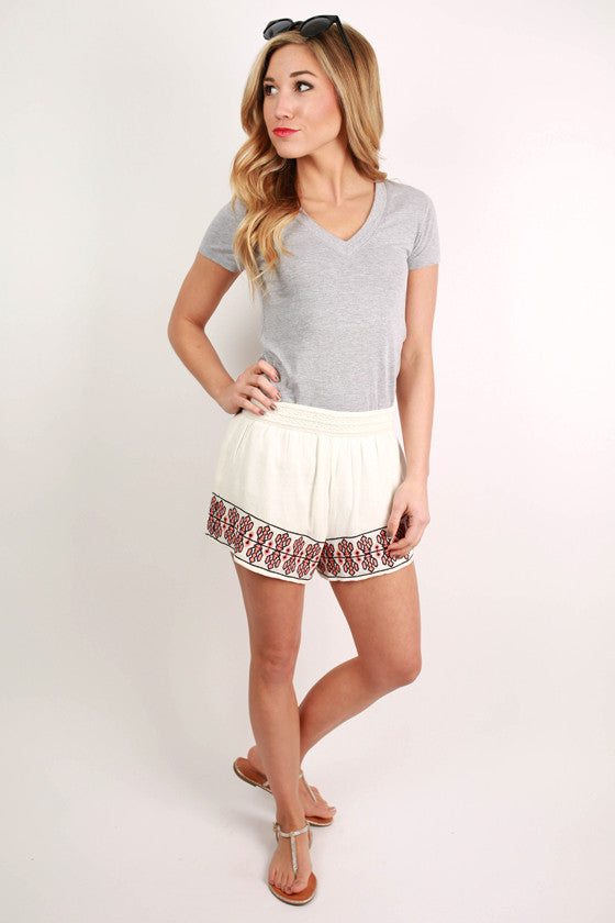 Making It Happen High Waist Embroidered Shorts in White