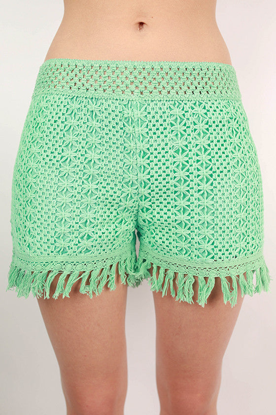 Mint For Keeps High Waist Frayed Knit Shorts