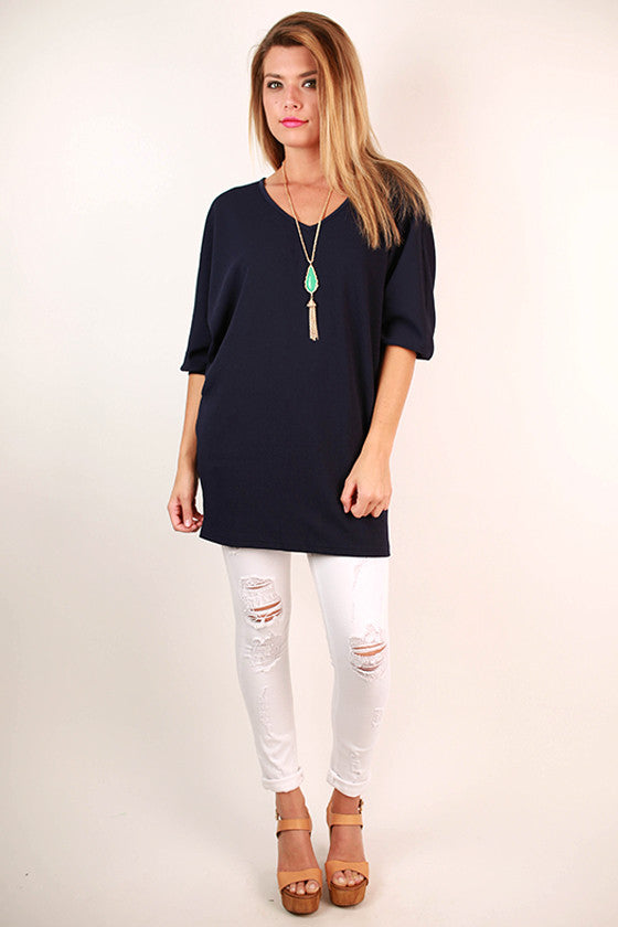 Feeling Electric Deep V-Neck Tunic in Navy