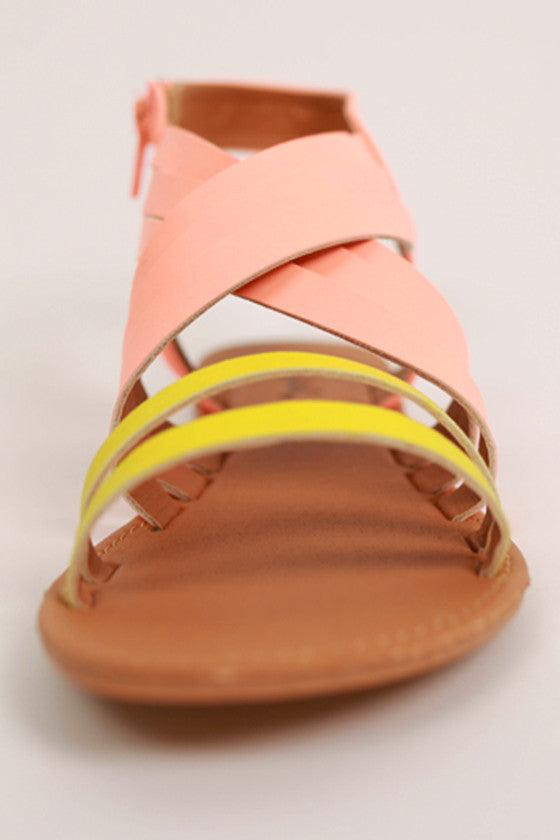 The Soho Sandal in Neon Peach