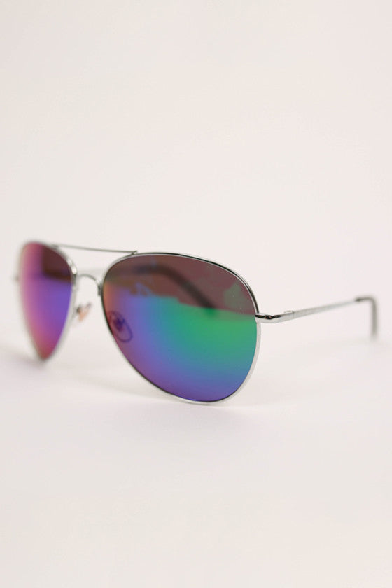 Aviator Metal Sunglasses in Indigo