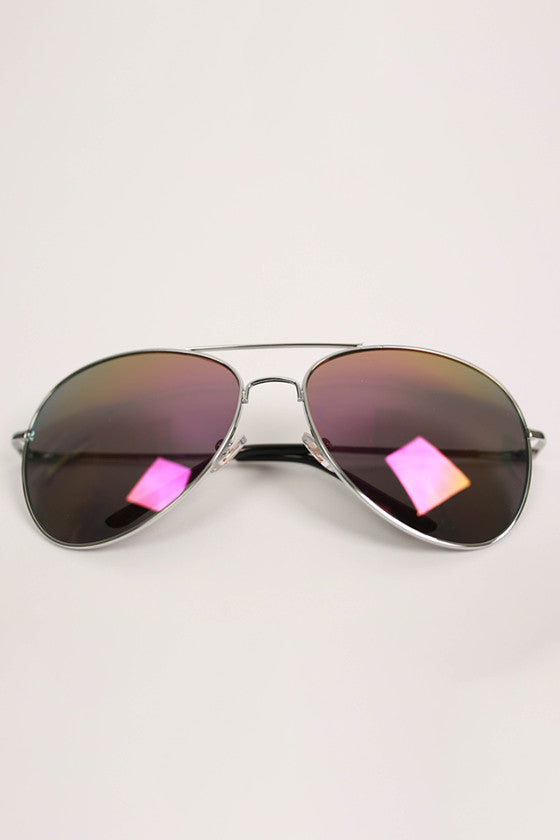 Aviator Metal Sunglasses in Black