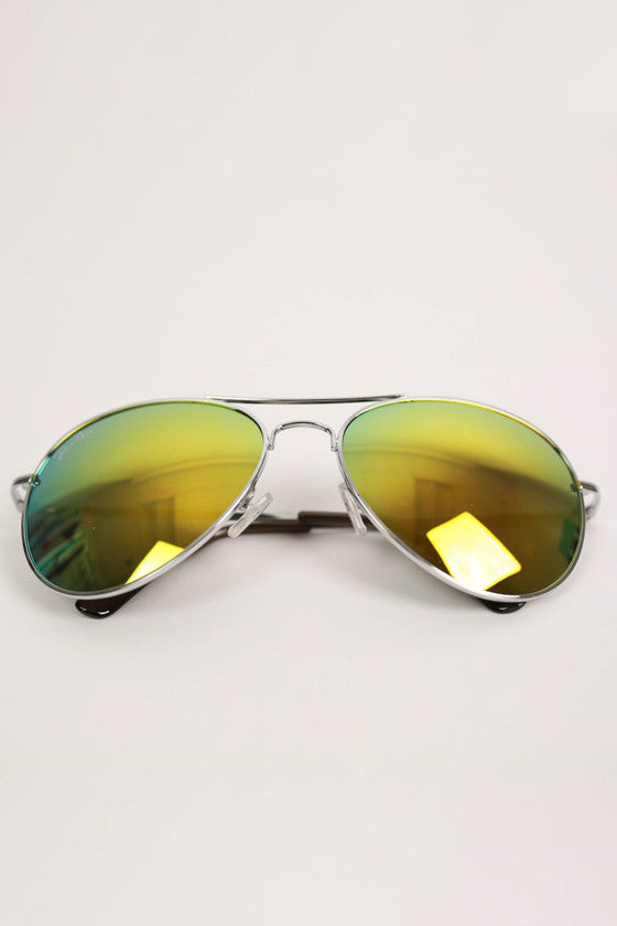 Cool Capri Aviatior Sunglasses in Green