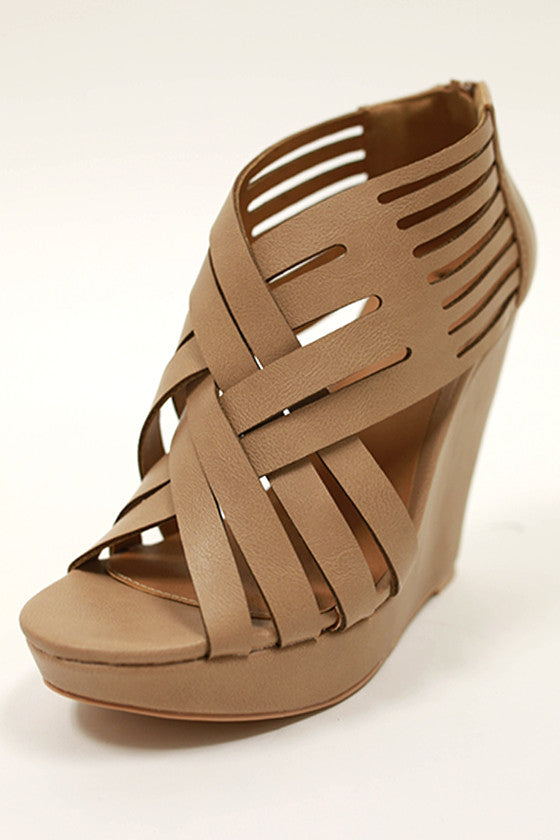 Sea Mist Wedge in Taupe