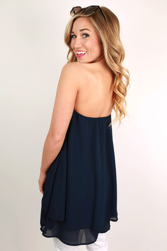 For The Twirl Of It Layered Top in Navy