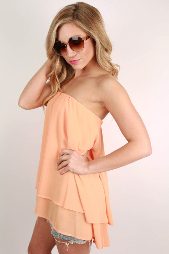 For The Twirl Of It Layered Top in Nectarine