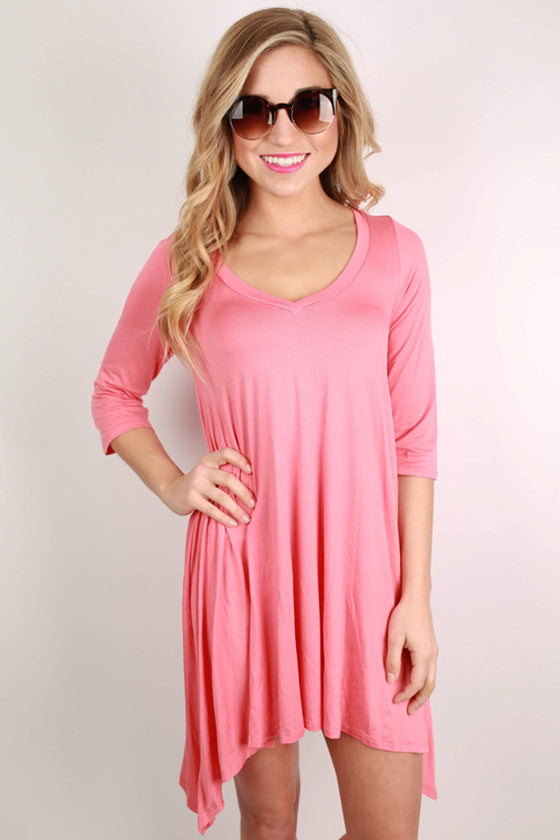 I'm Flawless Half Sleeve Tunic in Coral