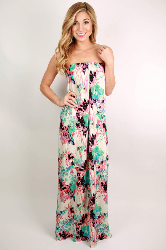 Cancun Dreaming Open Back Maxi Dress in Pink