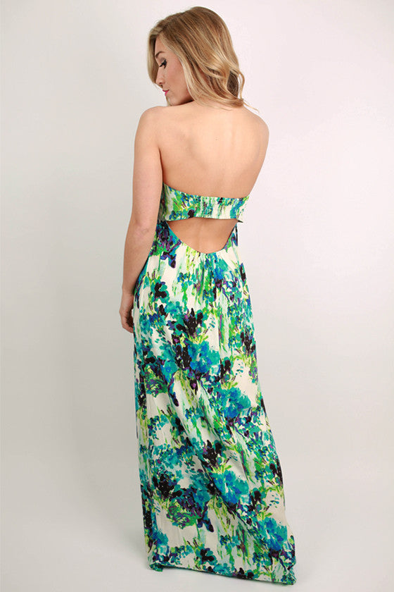 Cancun Dreaming Open Back Maxi Dress in Blue