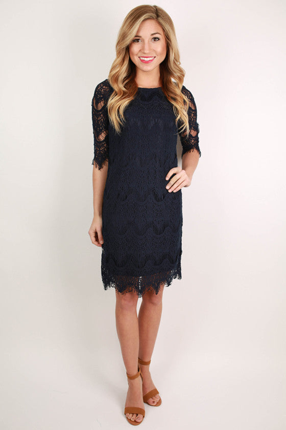 Girl Of Your Dreams Dress in Navy
