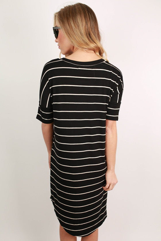 Stripes On Top Tunic in Black