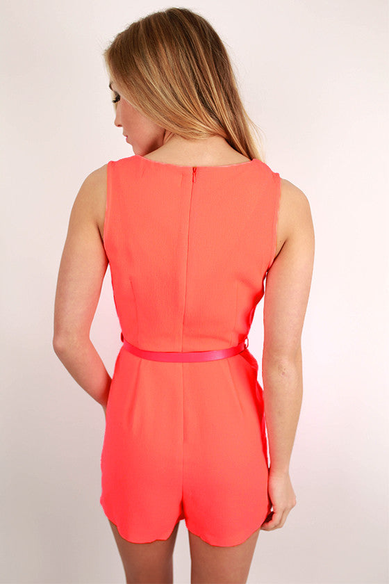Playa Del Pretty Romper in Neon Coral