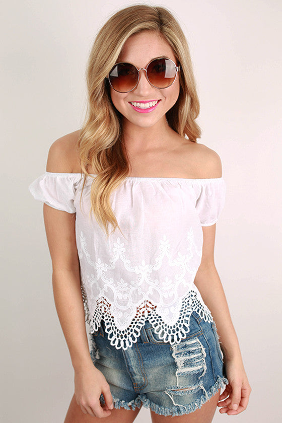 Sweet Like Cotton Candy Crop Top in White