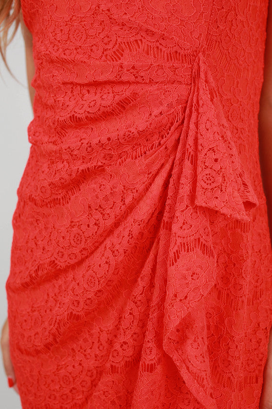 Lace is More Ruffle Dress in Tomato