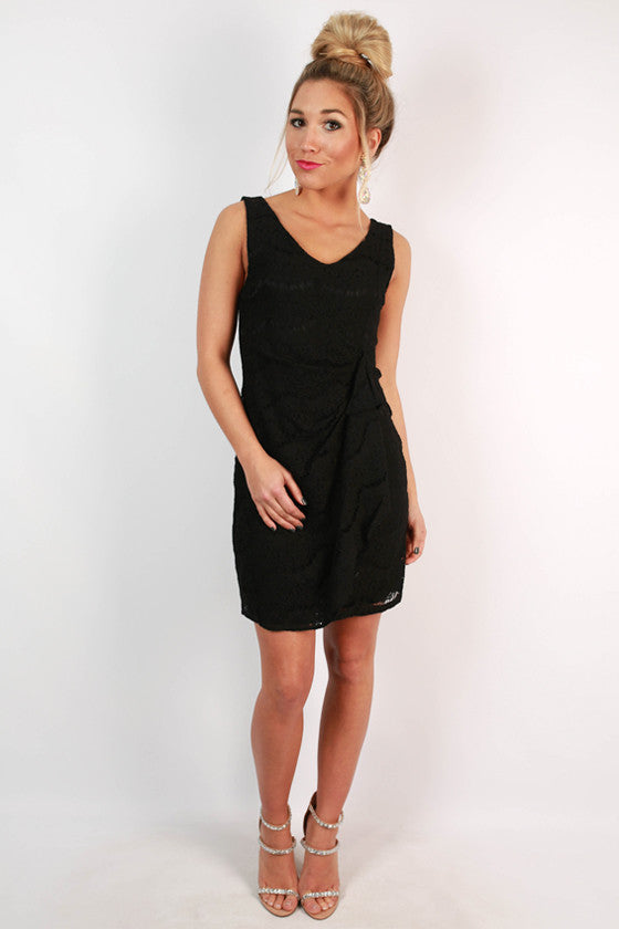 Lace is More Ruffle Dress in Black