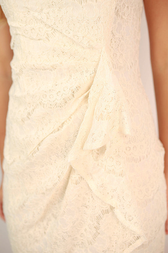 Lace is More Ruffle Dress in Ivory
