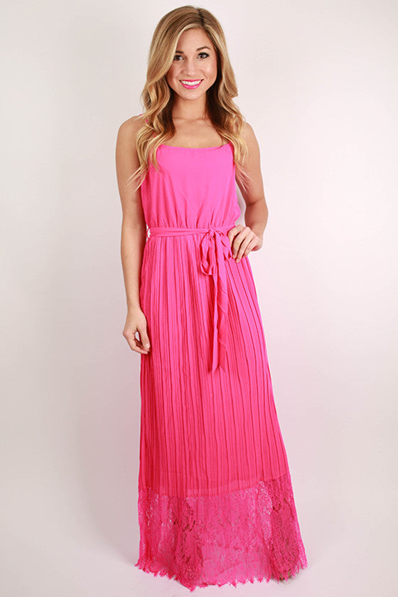 Sleepless In Soho Maxi Dress in Hot Pink
