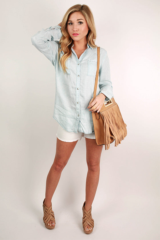 Light Wash Polka Dot Button Up Shirt