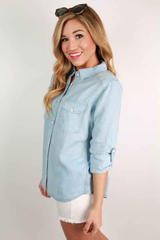 Light Wash Two Step Button Up Shirt