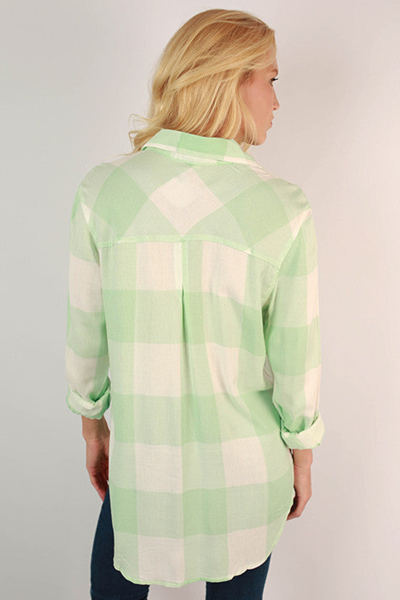 Huntington Beach Button Up Shirt in Seafoam