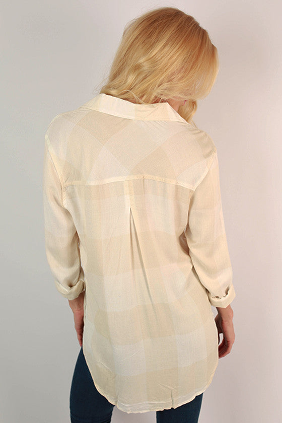 Huntington Beach Button Up Shirt in Beige