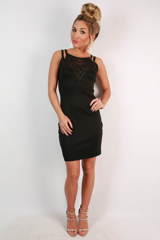 The Night Is Young Bodycon Dress in Black
