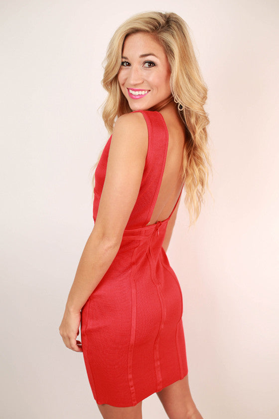 Madison Square Garden Bodycon Dress in Red