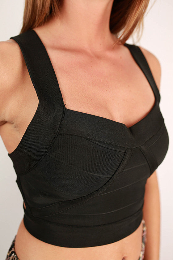 Endless Possibilities Open Back Crop Top in Black