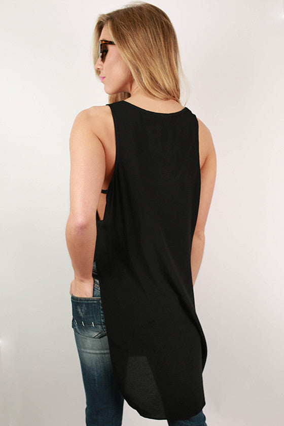 Split Personality Tunic Tank in Black