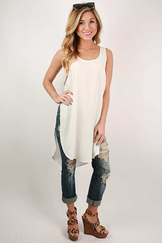 Split Personality Tunic Tank in White