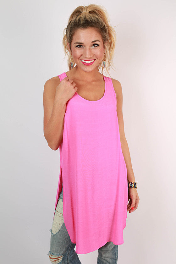 Split Personality Tunic Tank in Pink