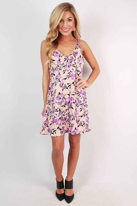 Floral Ambition Print Dress in Blush