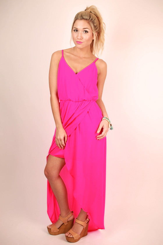 Take Time for Tea Maxi Dress in Hot Pink