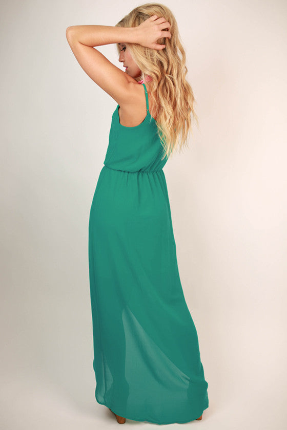 Take Time for Tea Maxi Dress in Turquoise