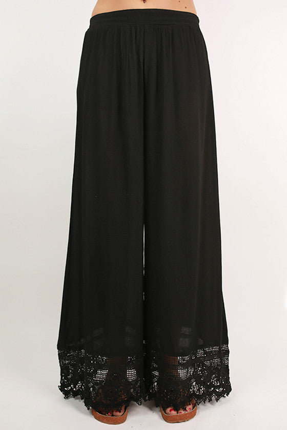 Boho Dreaming Lace Trim Pants in Black