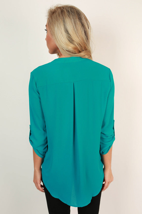 Summers in Capri V-Neck Top in Electric Blue