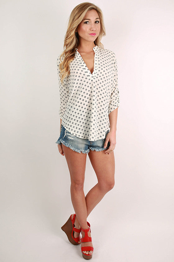 Weekend in the Bahamas V-Neck Top in White