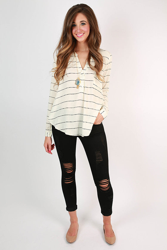 Pretty Happy Girl Stripe Top in Ivory