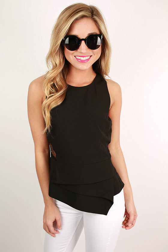 More Lace Please Peplum Top in Black