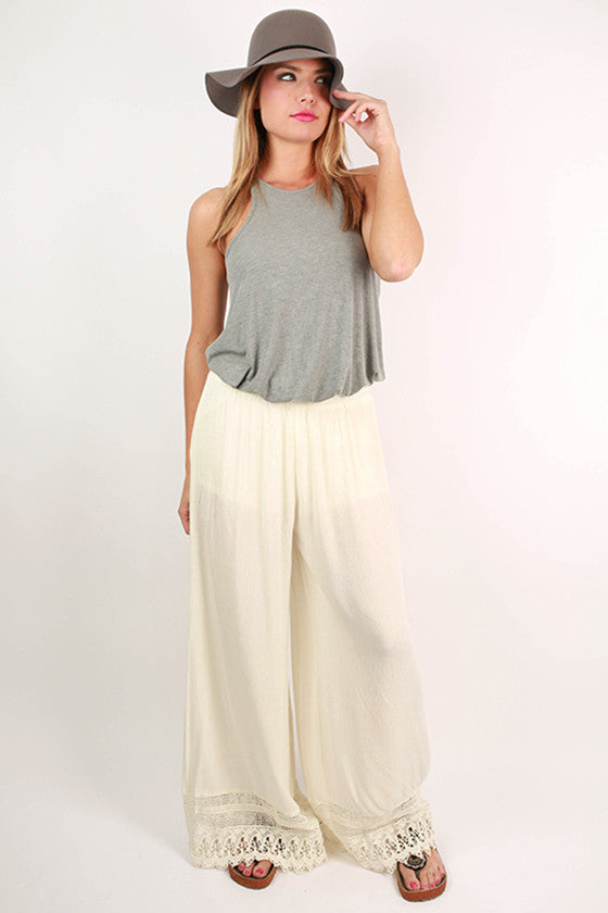 Boho Dreaming Lace Trim Pants in Cream