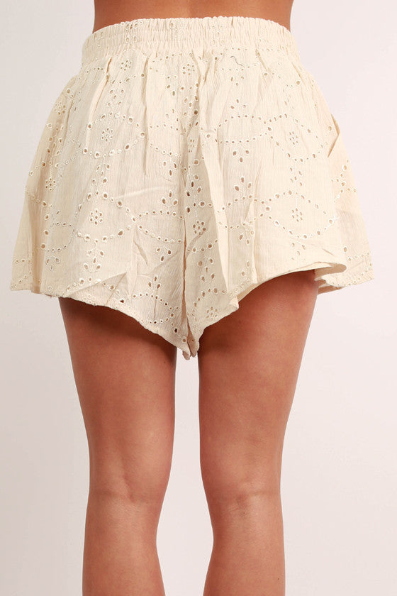 Glam Girl Next Door Shorts in Cream