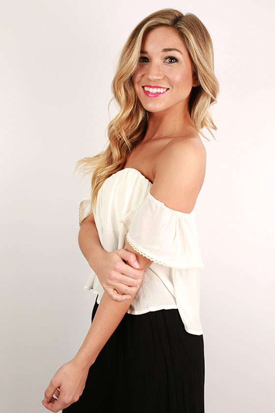 Positively Posh Off Shoulder Crop Top in White