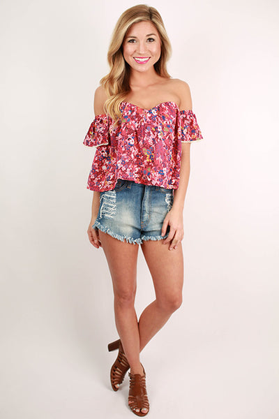 Positively perfect off shoulder crop top in pink impressions