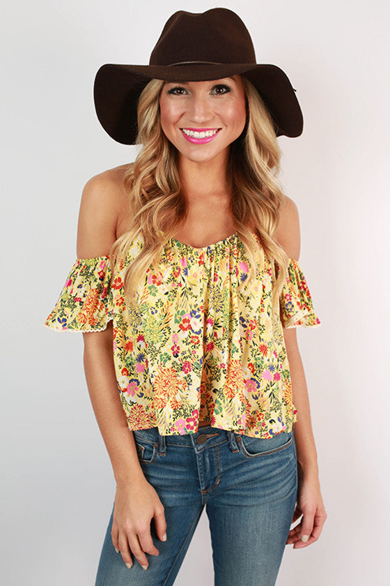 Positively Perfect Off Shoulder Crop Top in Yellow