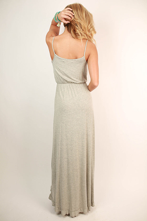 Beautiful Details Maxi Dress in Heather Grey