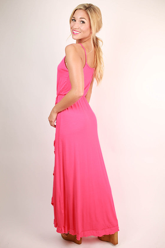 Beautiful Details Maxi Dress in Hot Pink